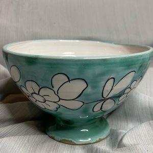 Vintage M N Co flower pattern glazed footed bowl.